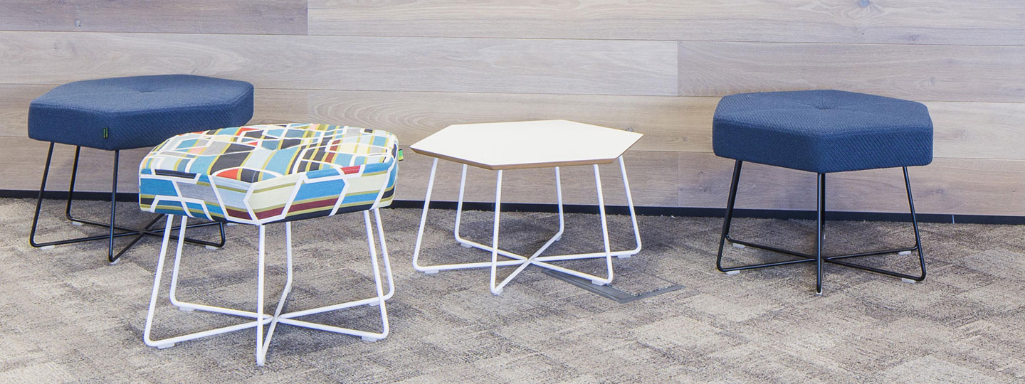 Hexagonal office stools and tables