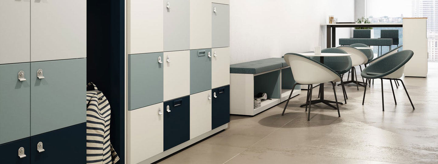 Office lockers and low storage with seating.