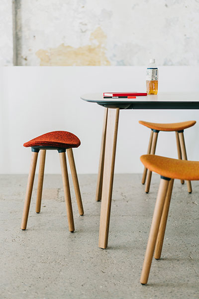 Coma low Stool with wood legs