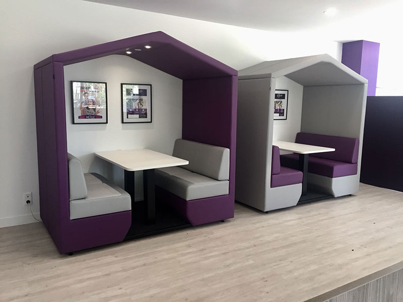 Office cabins in contrasting upholstery colours