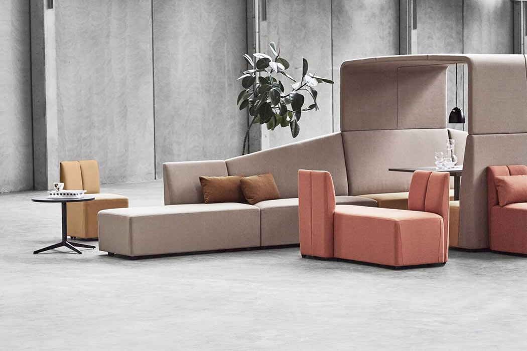 Fourlikes modular seating attaches to acoustic open office pod