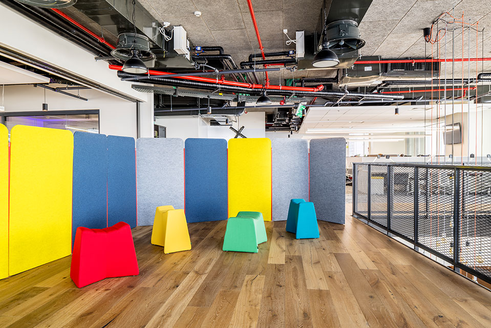 Pinch stools in meeting space