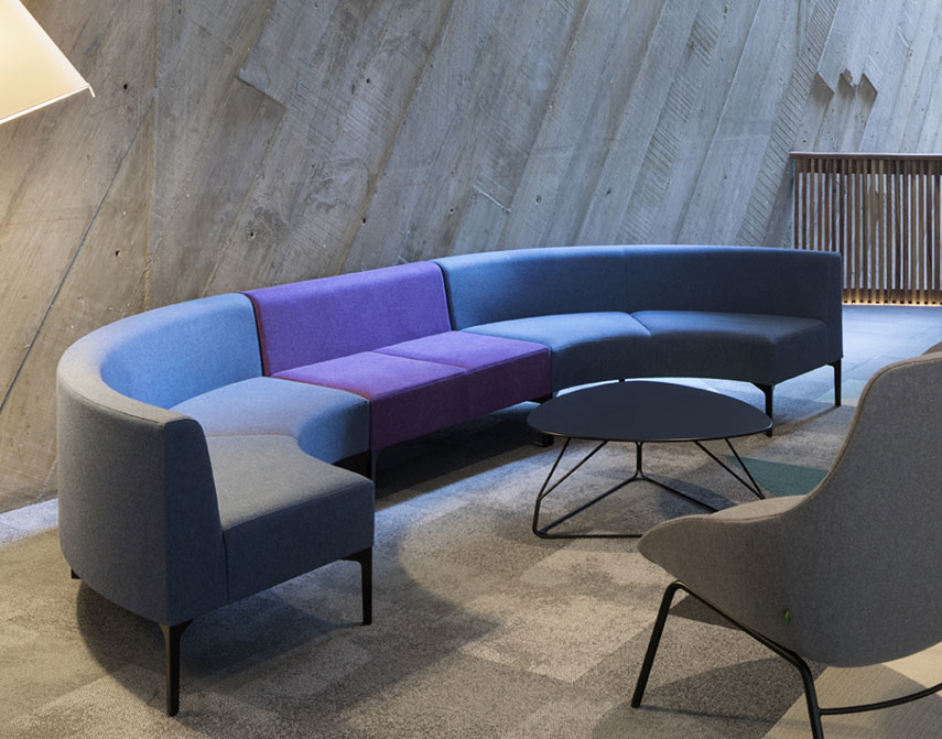 Curved modular office sofa system
