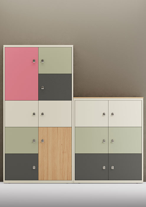 Colourful office lockers