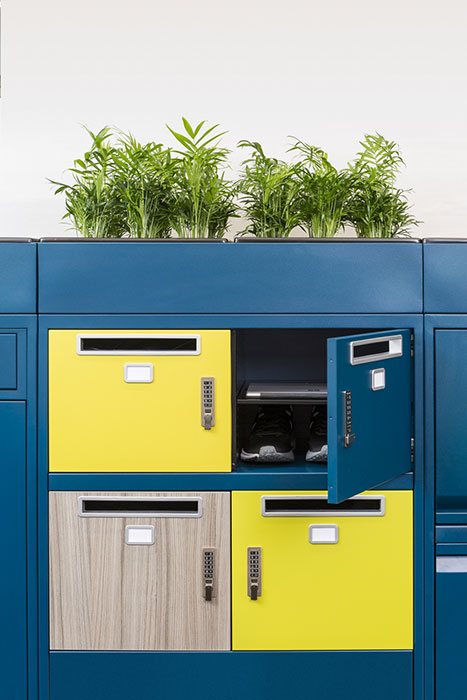 Locker with planter on top