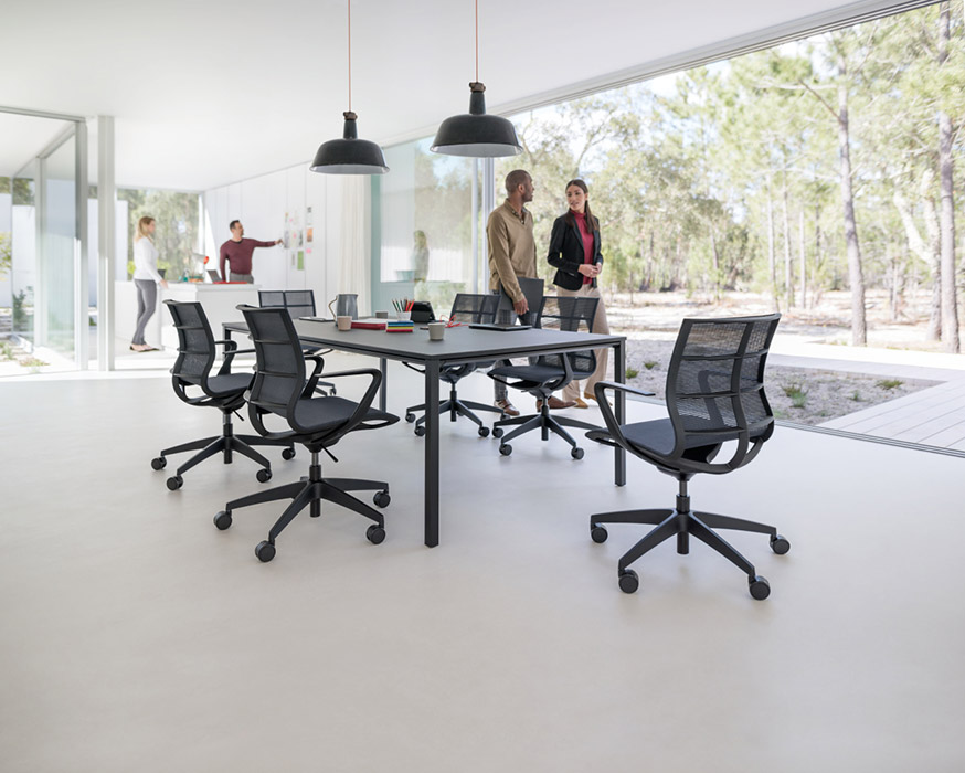 Black mesh meeting chairs